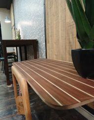 table basse stella années 60 en bois teck mr hattimer brocante vintage limoges
