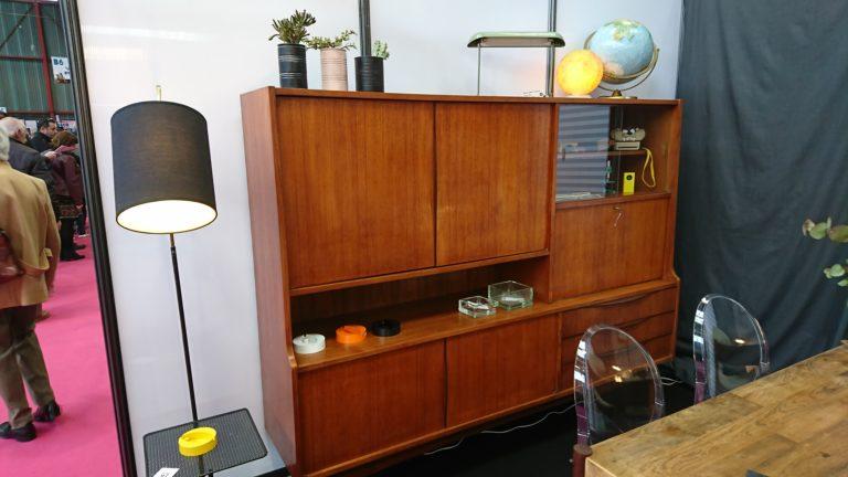 enfilade teck années 60 profil niche tiroirs vitrine