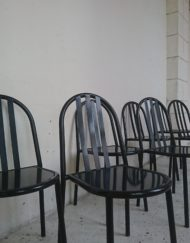 chaise robert mallet stevens noir années 80 andrée putman mr hattime brocante vintage limoges
