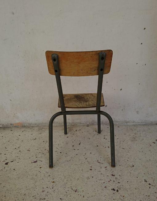 chaise enfant d'école bois métal brocante vintage mr hattimer limoges