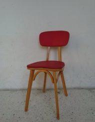 chaise bois massif et skaï rouge années 60 ébéniste mr hatiimer brocante vintage limoges