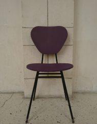 Chaise métal skaï Jacques Hitier années 60 violet rouge mr hattimer brocante vintage limoges