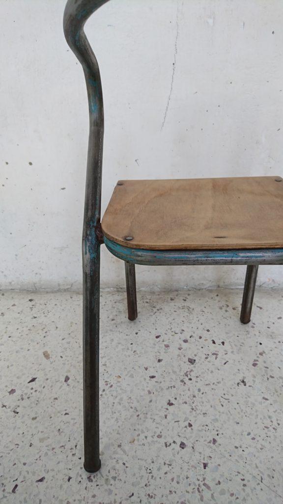 chaise d'école enfant jacques hitier bois metal années 60 mr hatttimer brocante vintage limoges