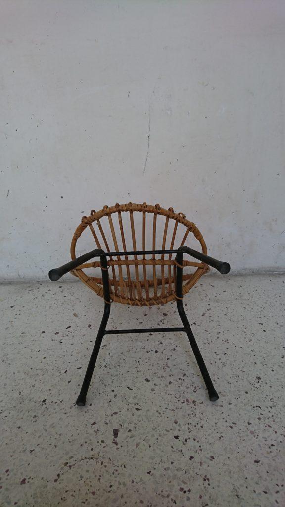 chaise enfant pierre guariche rotin metal années 60 mr hatttimer brocante vintage limoges