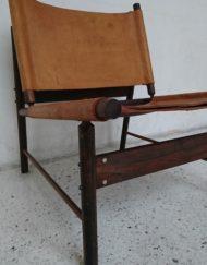 fauteuil chauffeuse danois repose pied bois massif cuir mr hattimer brocante vintage limoges