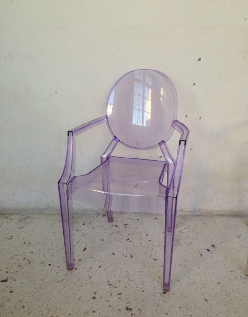 Chaise fauteuil lou lou ghost kartell philippe starck violette mr hattimer brocante vintage limoges