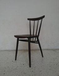chaise scandinave bistrot années 60 bois rouge mr hattimer brocante vintage limoges