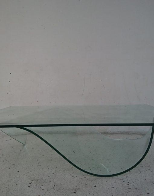 Table basse feuille de roche bobois design maurice barilone années 80 verre trempé mr hattimer brocante vintage limoges