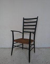 fauteuil scandinave haut dossier style gio ponti noir bois massif corde tréssé mr hattimer brocante vintage limoges