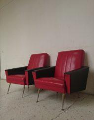 fauteuil rouge et noir annees 60 mr hattimer brocante vintage limoges
