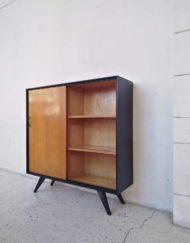 meuble bibliothèque annees 60 noir bois mr hattimer brocante vintage limoges