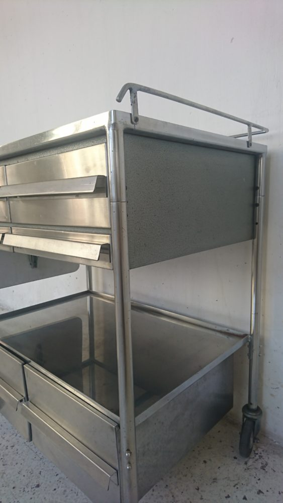 desserte metal inox sur roues tiroirs hopital mr hattimer brocante vintage limoges