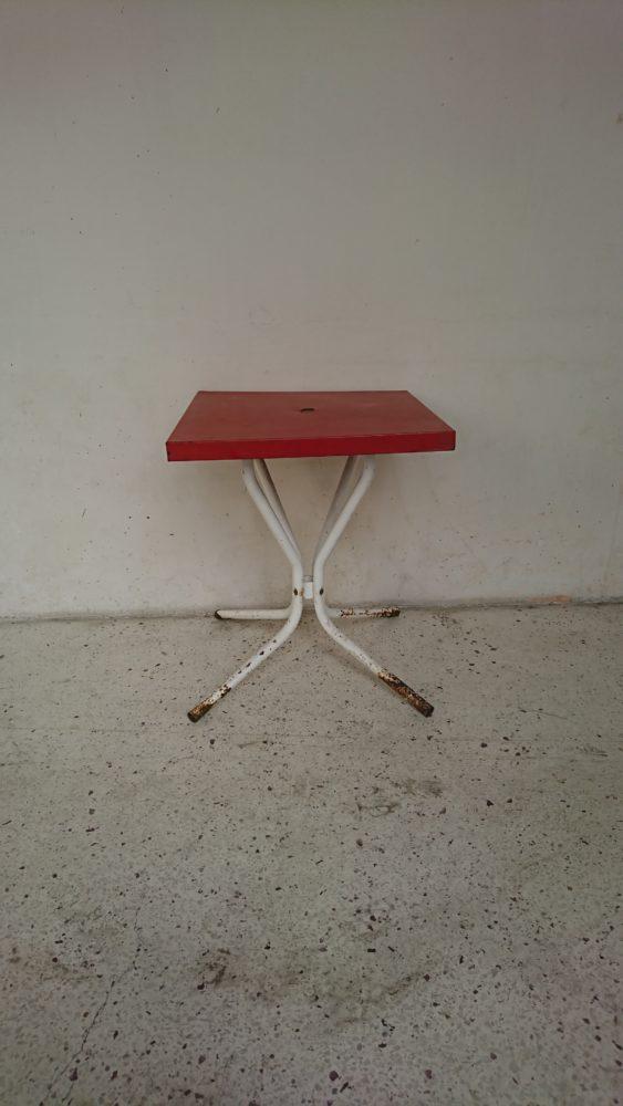 table bistrot metal rouge blanche années 60 mr hattimer brocante vintage limoges