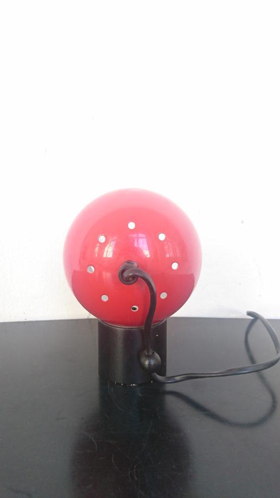 Lampe boule rouge métal bois années 70 mr hattimer brocante vintage limoges
