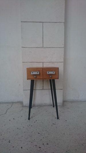meuble chevet table d'appoint bout d canapé bois et metal mr hattimer brocante vintage limoges
