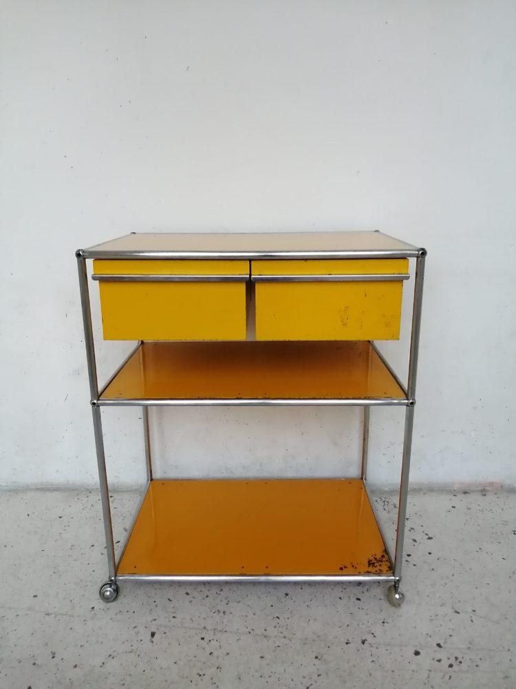 meuble usm haller desserte jaune or mr hattimer brocante vintage limoges
