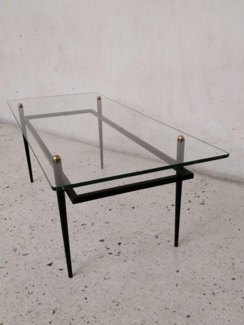 table basse roger lebihan années 60 metal noir verre mr hattimer brocante vintage limoges
